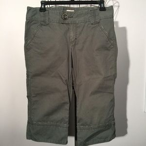 FREE PEOPLE Olive Green Cropped Carpenter Pants 6